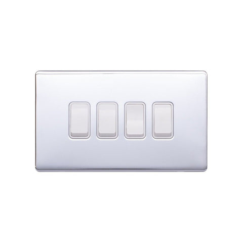 Screwless Raised - Polished Chrome 10A 4 Gang 2 Way Light Switch - White Trim