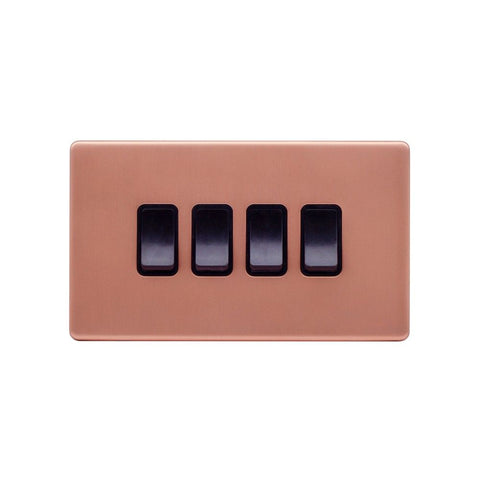 Screwless Raised - Brushed Copper 10A 4 Gang 2 Way Light Switch - Black Trim