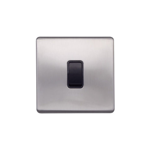 Screwless Raised - Brushed Chrome 10A 1 Gang 2 Way Light Switch - Black Trim