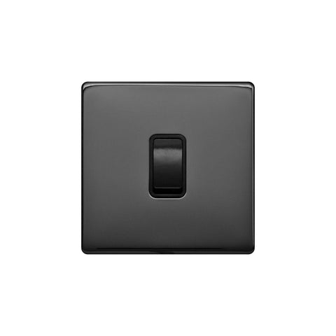 Screwless Raised - Black Nickel 10A 1 Gang 2 Way Light Switch - Black Trim