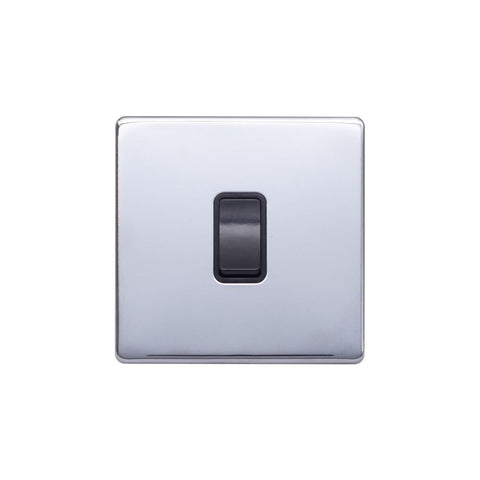 Screwless Raised - Polished Chrome 10A 1 Gang 2 Way Light Switch - Black Trim