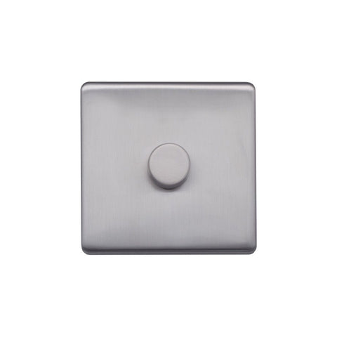 Screwless Raised - Brushed Chrome 250W 1 Gang 2 Way Intelligent Trailing Dimmer Switch - Black Trim