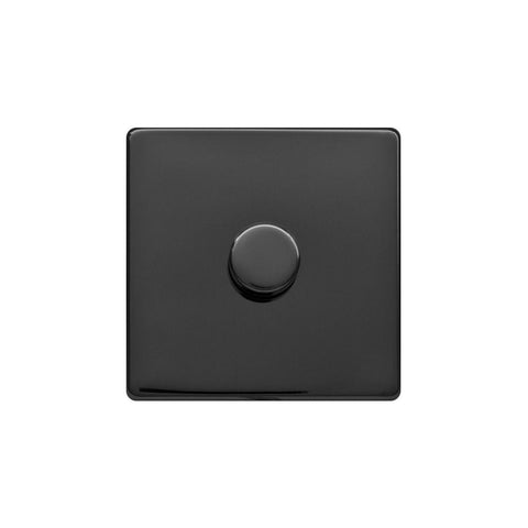 Screwless Raised - Black Nickel 250W 1 Gang 2 Way Intelligent Trailing Dimmer Switch - White Trim