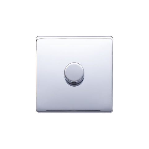 Screwless Raised - Polished Chrome 250W 1 Gang 2 Way Intelligent Trailing Dimmer Switch - White Trim