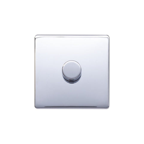 Screwless Raised - Polished Chrome 250W 1 Gang 2 Way Intelligent Trailing Dimmer Switch - Black Trim