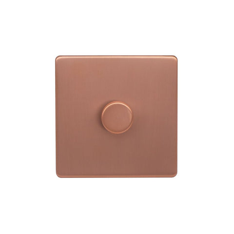 Screwless Raised - Brushed Copper 250W 1 Gang 2 Way Intelligent Trailing Dimmer Switch - Black Trim