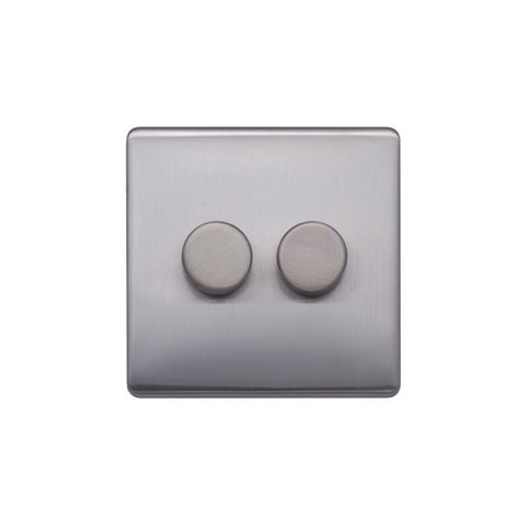 Screwless Raised - Brushed Chrome 250W 2 Gang 2 Way Intelligent Trailing Dimmer Switch - Black Trim