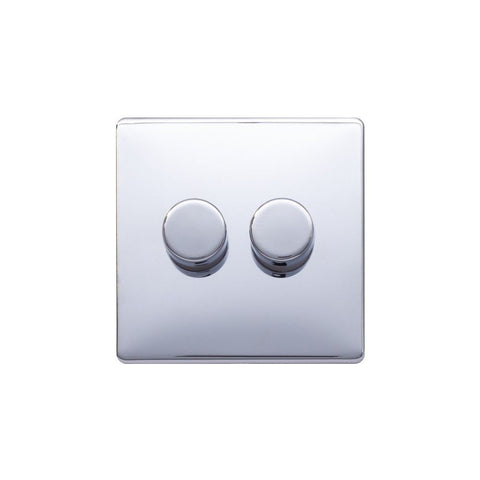 Screwless Raised - Polished Chrome 250W 2 Gang 2 Way Intelligent Trailing Dimmer Switch - White Trim