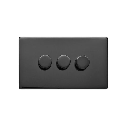 Screwless Raised - Black Nickel 250W 3 Gang 2 Way Intelligent Trailing Dimmer Switch - Black Trim