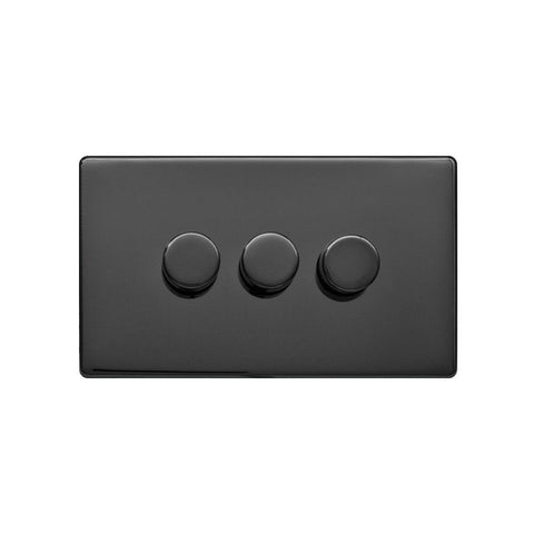 Screwless Raised - Black Nickel 250W 3 Gang 2 Way Intelligent Trailing Dimmer Switch - White Trim