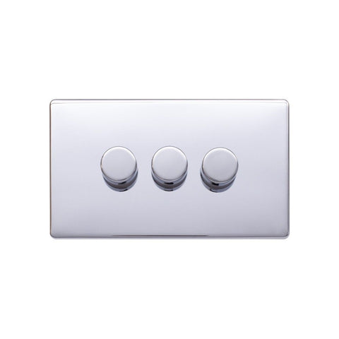 Screwless Raised - Polished Chrome 250W 3 Gang 2 Way Intelligent Trailing Dimmer Switch - Black Trim
