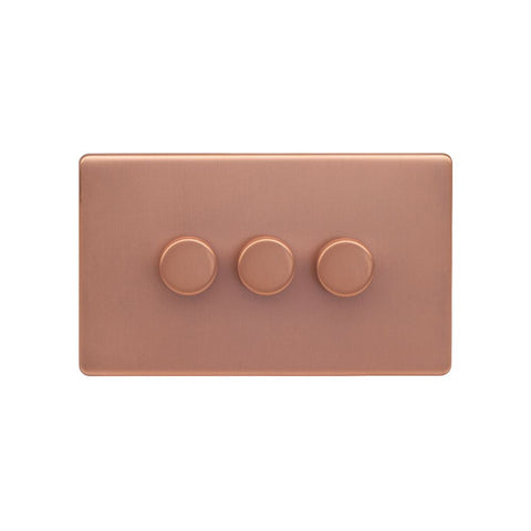 Screwless Raised - Brushed Copper 250W 3 Gang 2 Way Intelligent Trailing Dimmer Switch - Black Trim