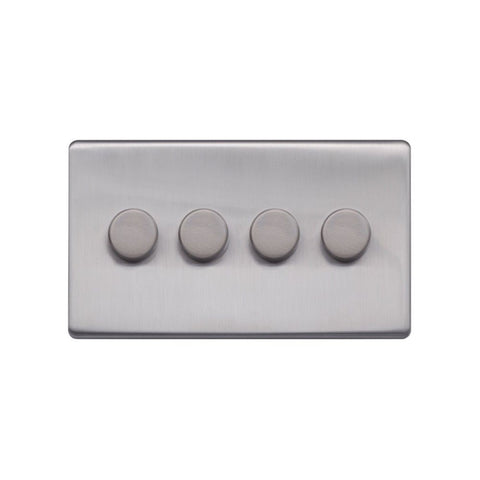 Screwless Raised - Brushed Chrome 250W 4 Gang 2 Way Intelligent Trailing Dimmer Switch - Black Trim