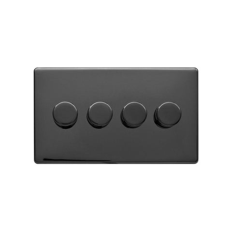 Screwless Raised - Black Nickel 250W 4 Gang 2 Way Intelligent Trailing Dimmer Switch - Black Trim
