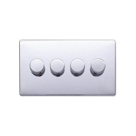 Screwless Raised - Polished Chrome 250W 4 Gang 2 Way Intelligent Trailing Dimmer Switch - Black Trim