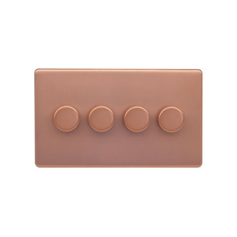 Screwless Raised - Brushed Copper 250W 4 Gang 2 Way Intelligent Trailing Dimmer Switch - Black Trim