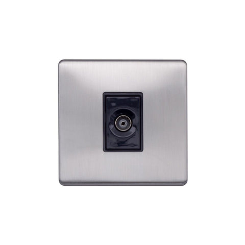 Screwless Raised - Brushed Chrome 1 Gang TV Socket - Black Trim