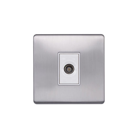 Screwless Raised - Brushed Chrome 1 Gang TV Socket - White Trim