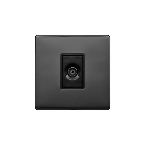 Screwless Raised - Black Nickel 1 Gang TV Socket - Black Trim