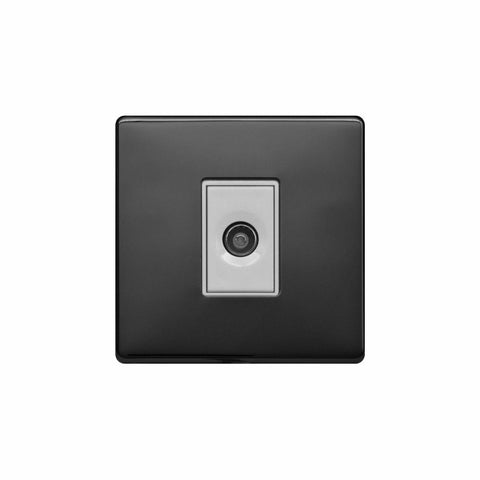 Screwless Raised - Black Nickel 1 Gang TV Socket - White Trim