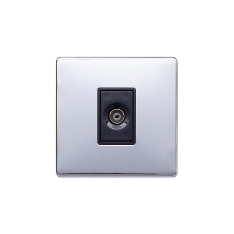 Screwless Raised - Polished Chrome 1 Gang TV Socket - Black Trim