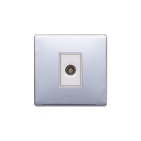 Screwless Raised - Polished Chrome 1 Gang TV Socket - White Trim
