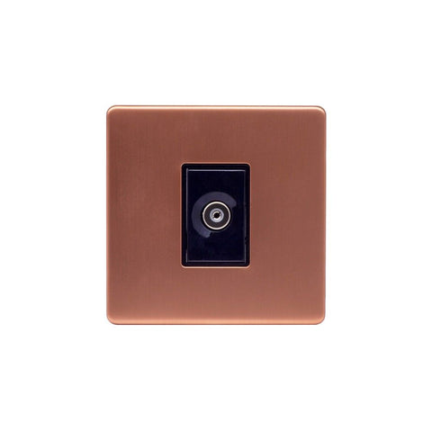 Screwless Raised - Brushed Copper 1 Gang TV Socket - Black Trim