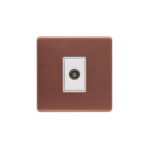 Screwless Raised - Brushed Copper 1 Gang TV Socket - White Trim