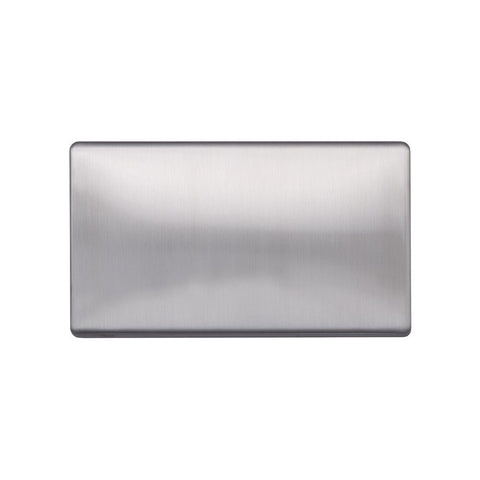 Screwless Raised - Brushed Chrome Double Blank Plates - White Trim
