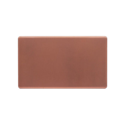 Screwless Raised - Brushed Copper Double Blank Plates - White Trim
