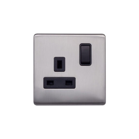 Screwless Raised - Brushed Chrome 13A 1 Gang Switched Plug Socket, Double Pole - Black Trim
