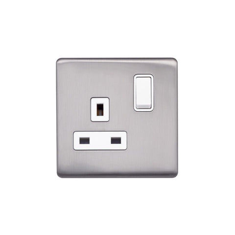 Screwless Raised - Brushed Chrome 13A 1 Gang Switched Plug Socket, Double Pole - White Trim