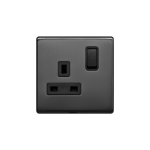 Screwless Raised - Black Nickel 13A 1 Gang Switched Plug Socket, Double Pole - Black Trim