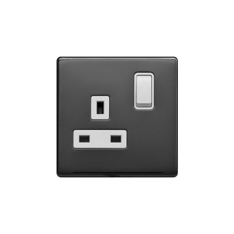 Screwless Raised - Black Nickel 13A 1 Gang Switched Plug Socket, Double Pole - White Trim