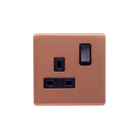Screwless Raised - Brushed Copper 13A 1 Gang Switched Plug Socket, Double Pole - Black Trim