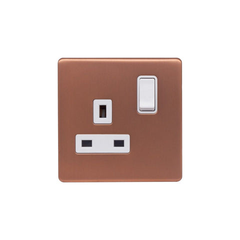 Screwless Raised - Brushed Copper 13A 1 Gang Switched Plug Socket, Double Pole - White Trim