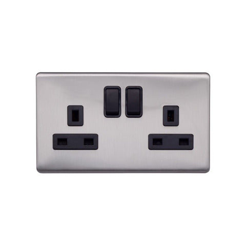 Screwless Raised - Brushed Chrome 13A 2 Gang Switched Plug Socket, Double Pole - Black Trim