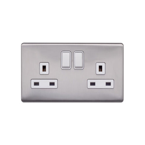 Screwless Raised - Brushed Chrome 13A 2 Gang Switched Plug Socket, Double Pole - White Trim