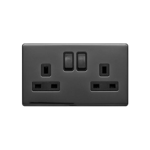 Screwless Raised - Black Nickel 13A 2 Gang Switched Plug Socket, Double Pole - Black Trim
