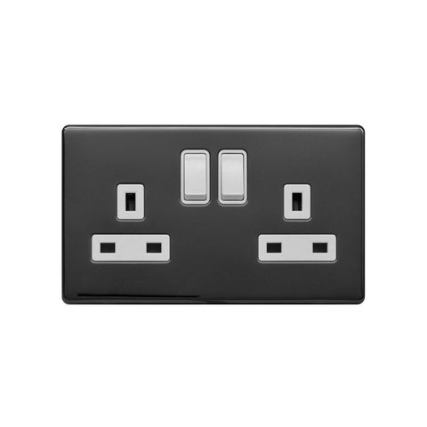 Screwless Raised - Black Nickel 13A 2 Gang Switched Plug Socket, Double Pole - White Trim