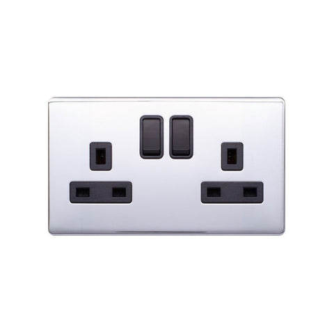 Screwless Raised - Polished Chrome 13A 2 Gang Switched Plug Socket, Double Pole - Black Trim