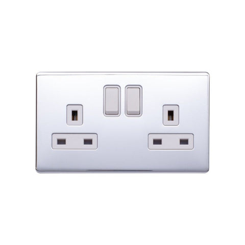 Screwless Raised - Polished Chrome 13A 2 Gang Switched Plug Socket, Double Pole - White Trim