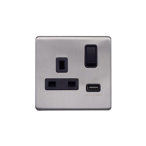 Screwless Raised - Brushed Chrome 13A 1 Gang Switched Plug Socket (3.1A) USB Outlet - Black Trim