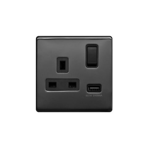 Screwless Raised - Black Nickel 13A 1 Gang Switched Plug Socket (3.1A) USB Outlet - Black Trim