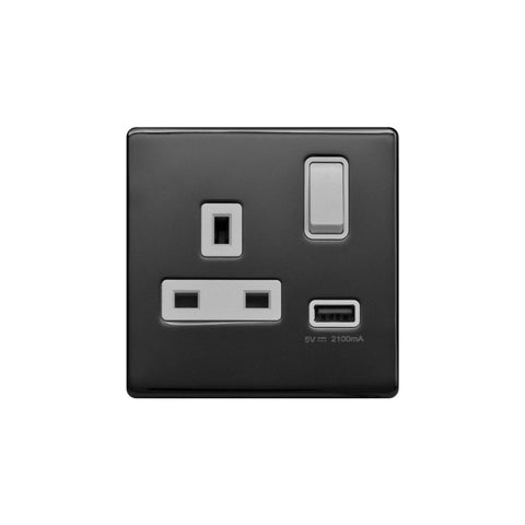 Screwless Raised - Black Nickel 13A 1 Gang Switched Plug Socket (3.1A) USB Outlet - White Trim