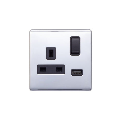 Screwless Raised - Polished Chrome 13A 1 Gang Switched Plug Socket (3.1A) USB Outlet - Black Trim
