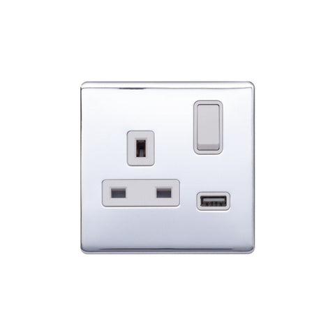 Screwless Raised - Polished Chrome 13A 1 Gang Switched Plug Socket (3.1A) USB Outlet - White Trim