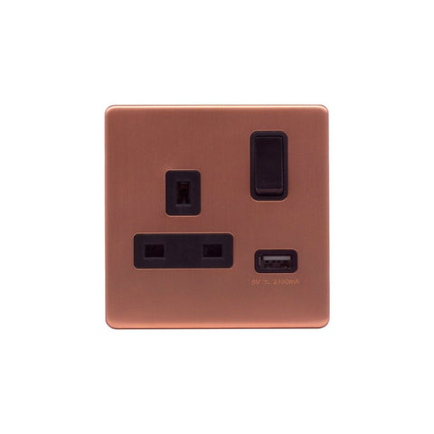 Screwless Raised - Brushed Copper 13A 1 Gang Switched Plug Socket (3.1A) USB Outlet - Black Trim