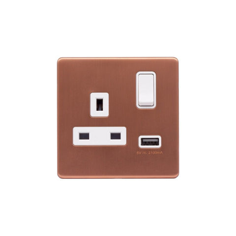 Screwless Raised - Brushed Copper 13A 1 Gang Switched Plug Socket (3.1A) USB Outlet - White Trim