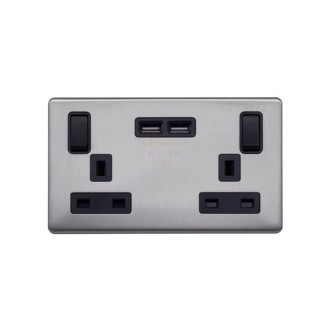Screwless Raised - Brushed Chrome 13A 2 Gang Switched DP Socket 2 x USB Outlet (4.8A) - Black Trim
